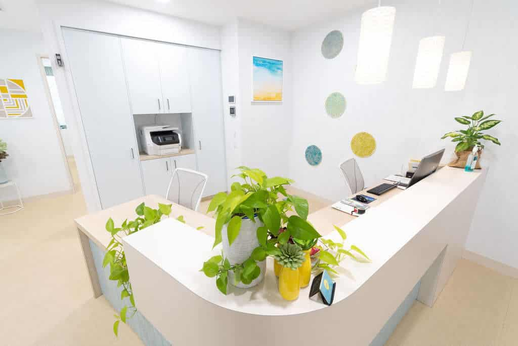 A bright medical clinic reception with the look of natural light