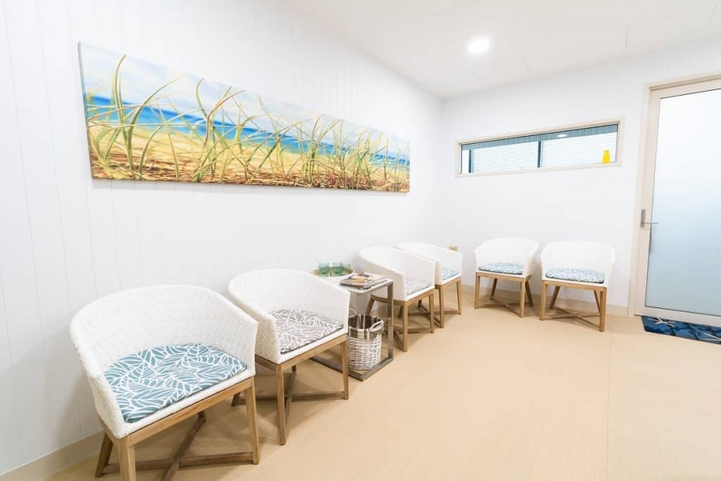 Spacious and homely specialist practice waiting room