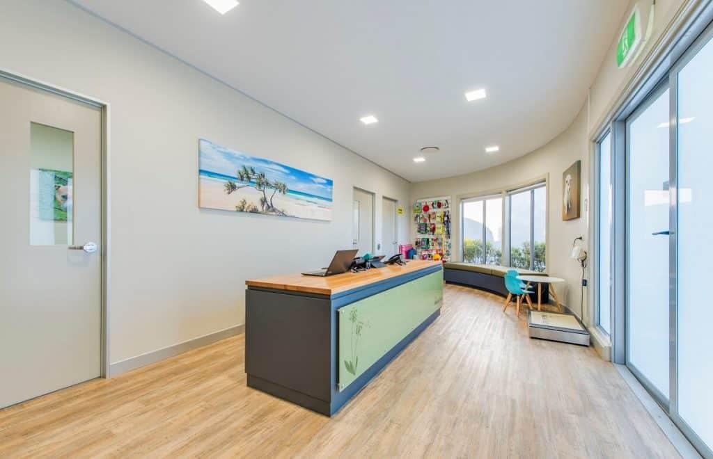 Wood-looking vinyl flooring in vet practice fitout