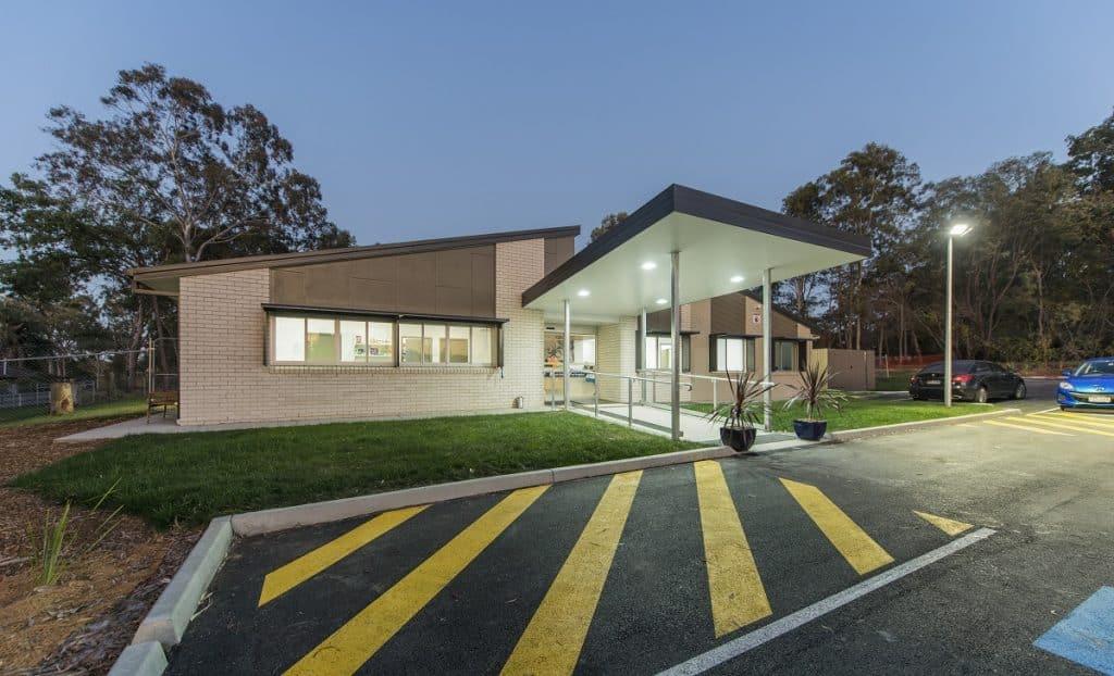 Exterior lighting at vet practice