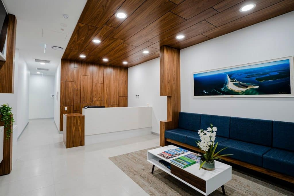 Dental fitout with a few natural elements in the clinic design