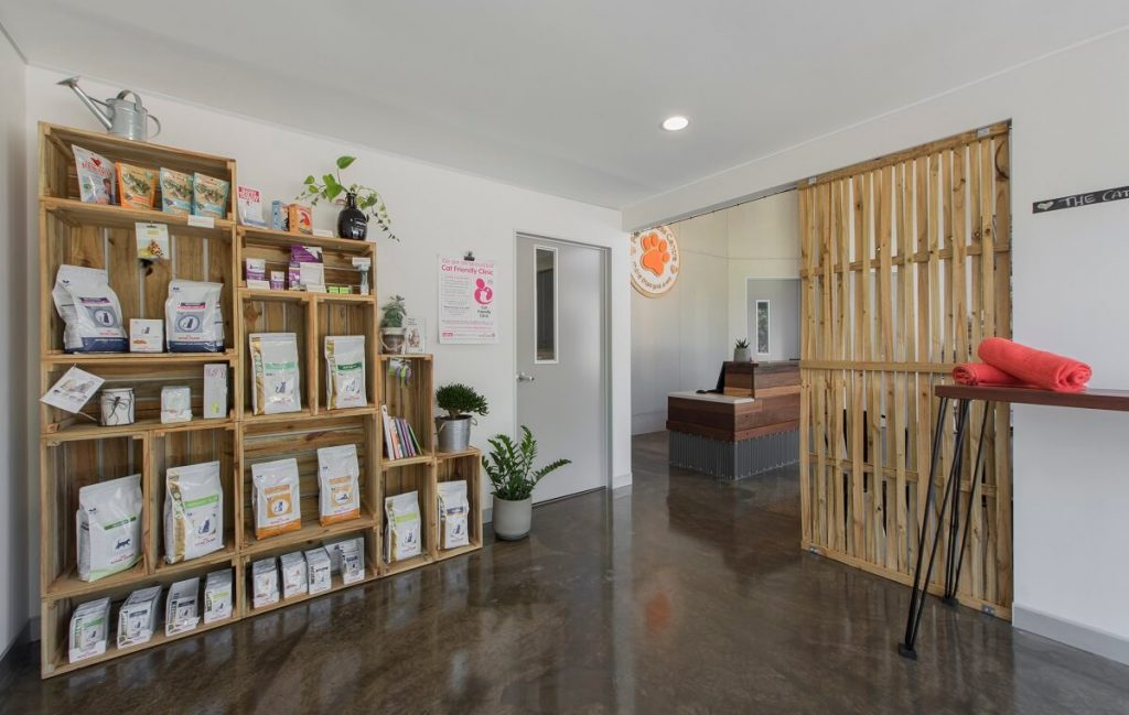 Sustainable vet practice fitout with plenty of natural elements in the clinic design