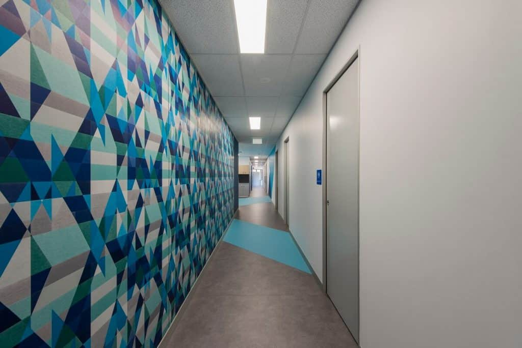 Wallpaper feature wall in X-ray medical clinic
