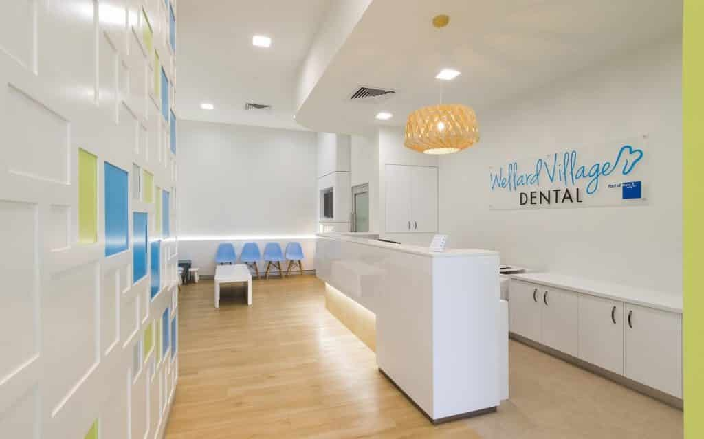 Striking feature wall in this dental waiting room