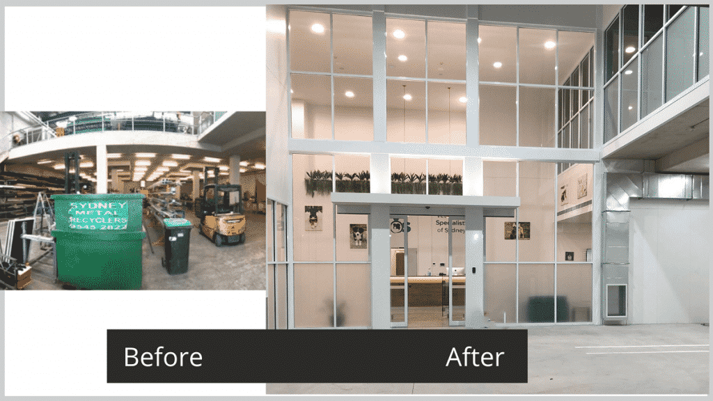 Veterinary Specialist Hospital Fitout - before and after of entrance