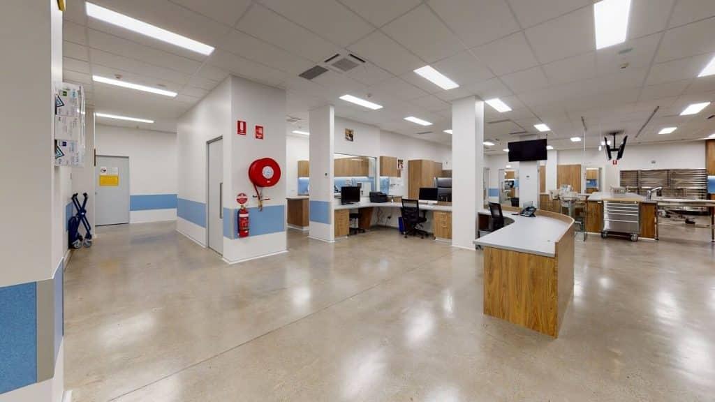 Vet practice open-plan treatment room design