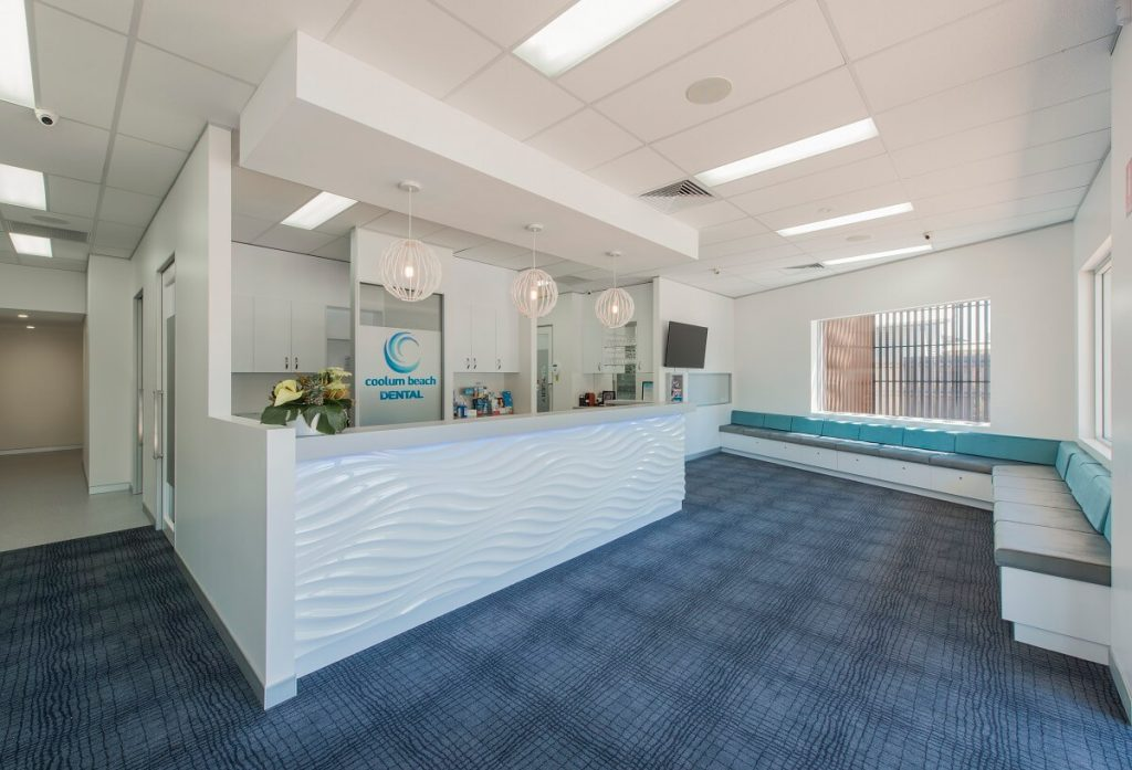 Coolum Beach Dental Practice fitout with a coastal design style