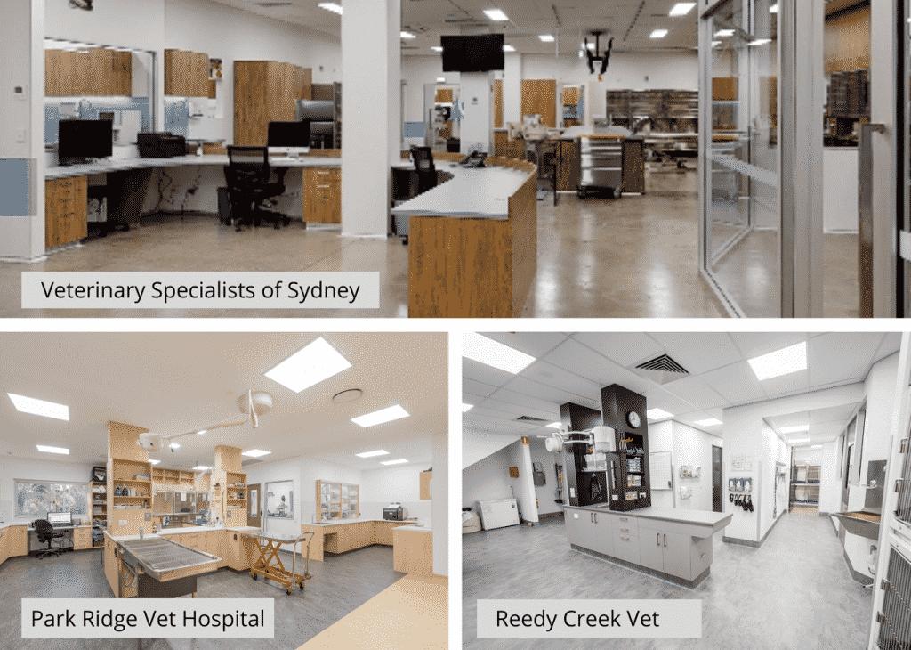 Vet practice treatment rooms -  different layout designs