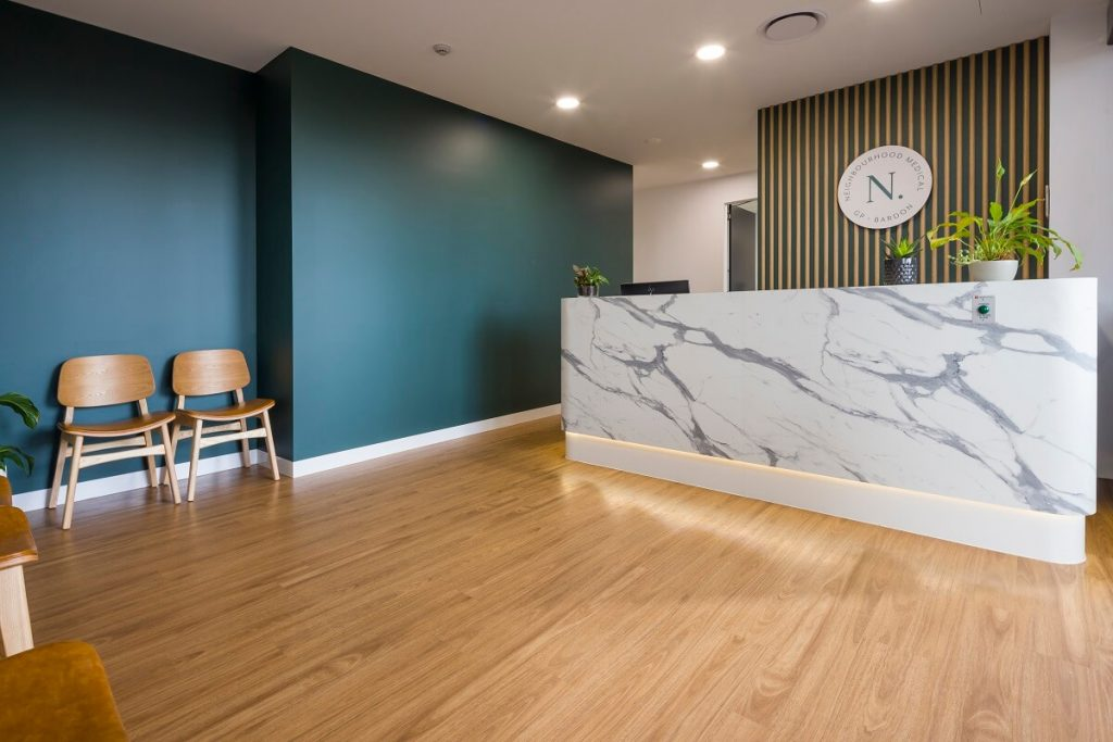 Brisbane medical practice fitout - reception