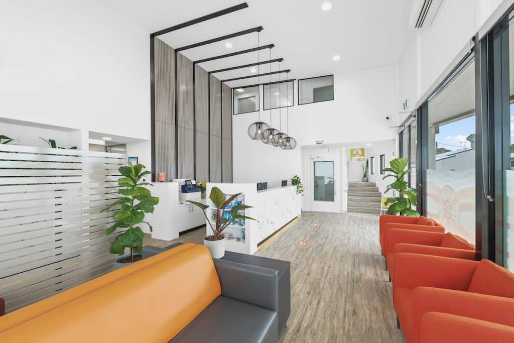 This healthcare practice features earthy colours