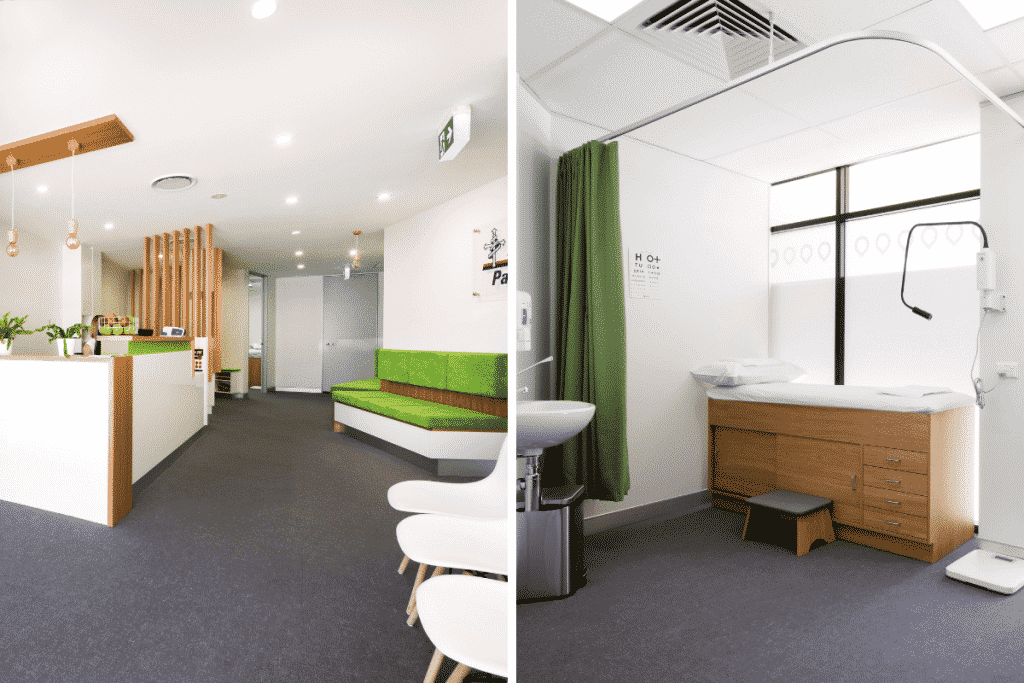 Medical clinic fitout featuring calming colours