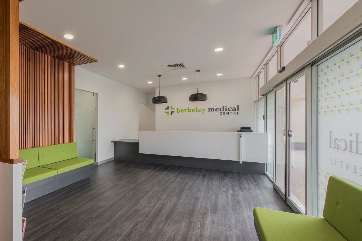 Medical practice fitout featuring natural design elements throughout