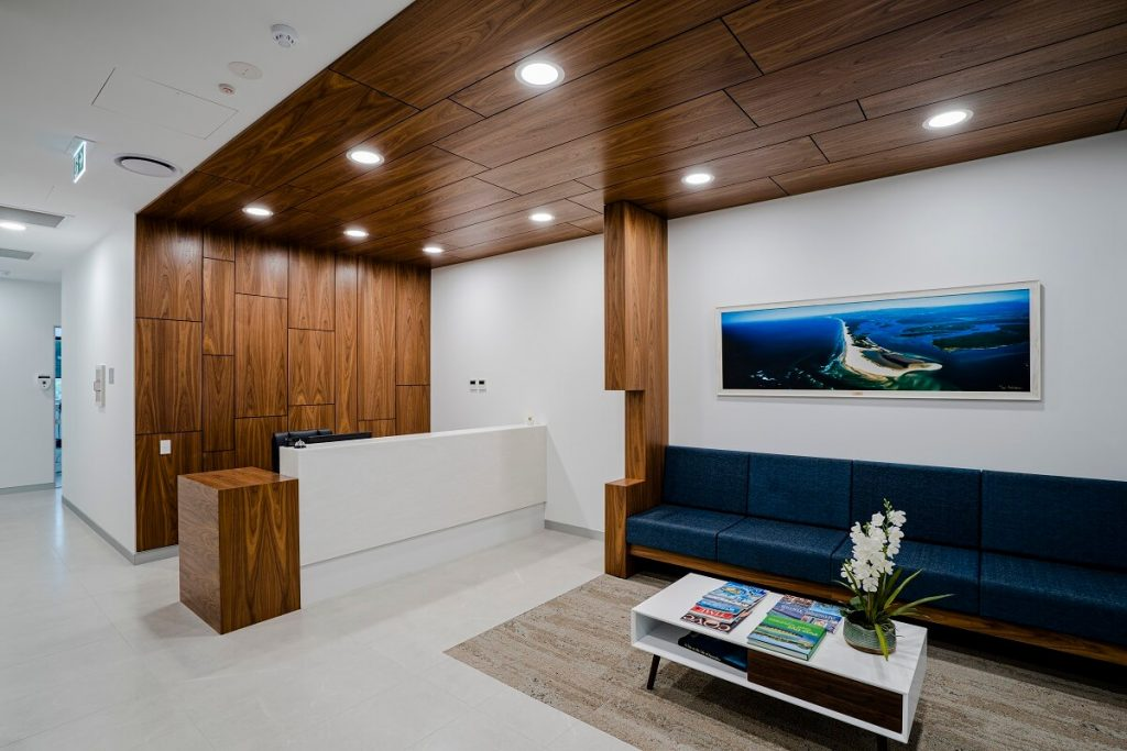 Timber panelling gives this dental practice a high end look