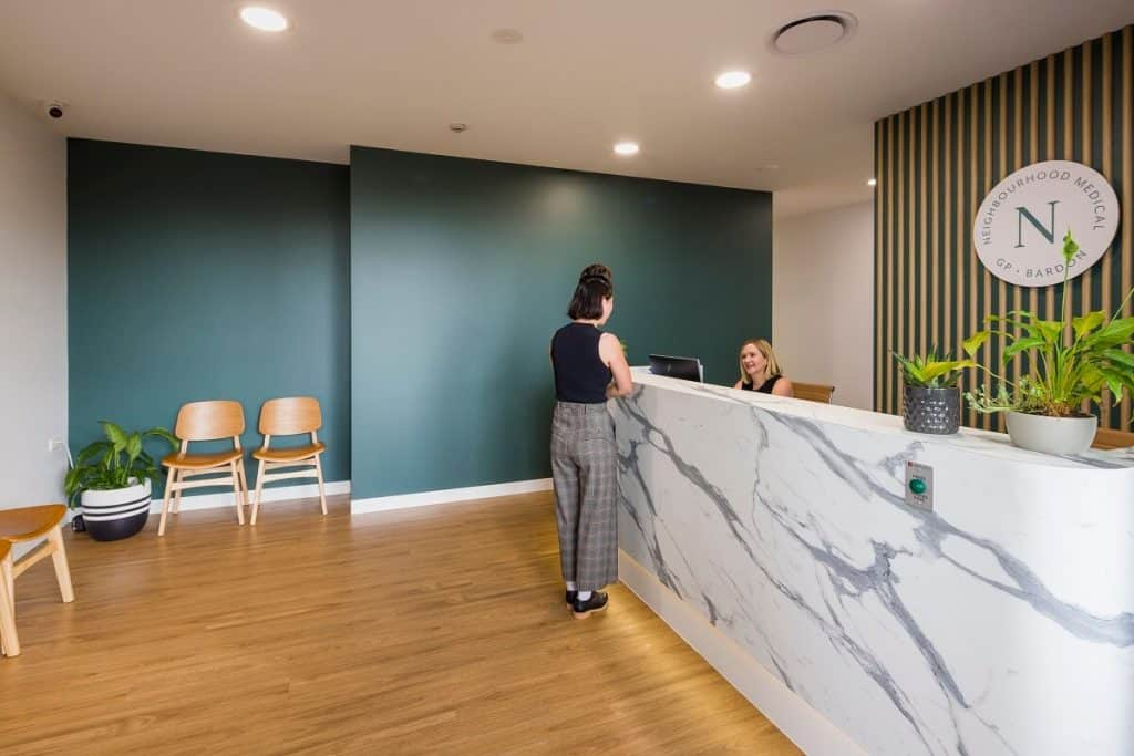 This reception space follows the key medical practice design guidelines