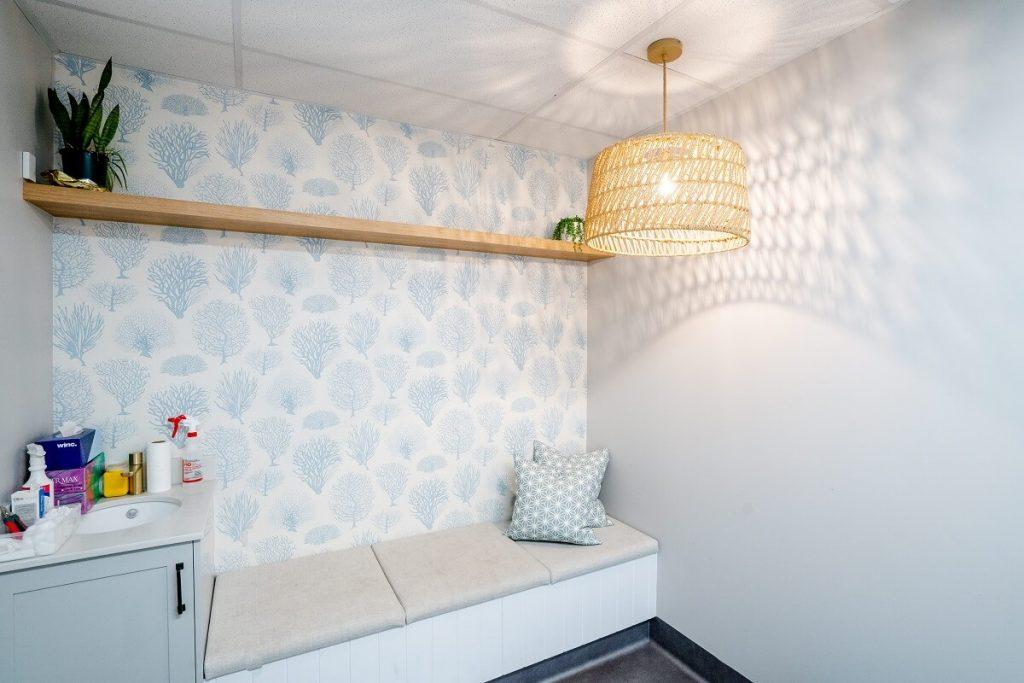 Soft wallpaper in this vet clinic bereavement room