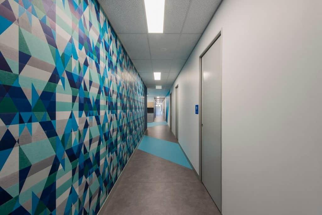 Wallpaper lines the hallway in this XRay practice