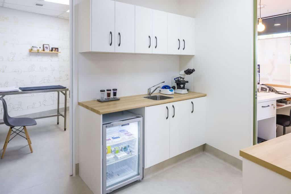 Vet practice consult room with two doors