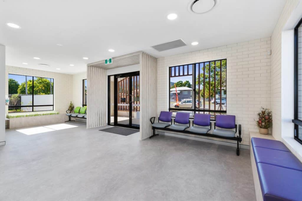 Vet clinic design setup - aiting area with separated seating areas
