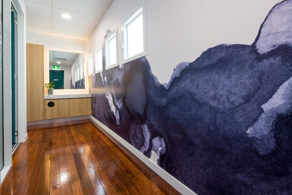 Wallpapered wall finish in this Brisbane dental healthcare practice fitout