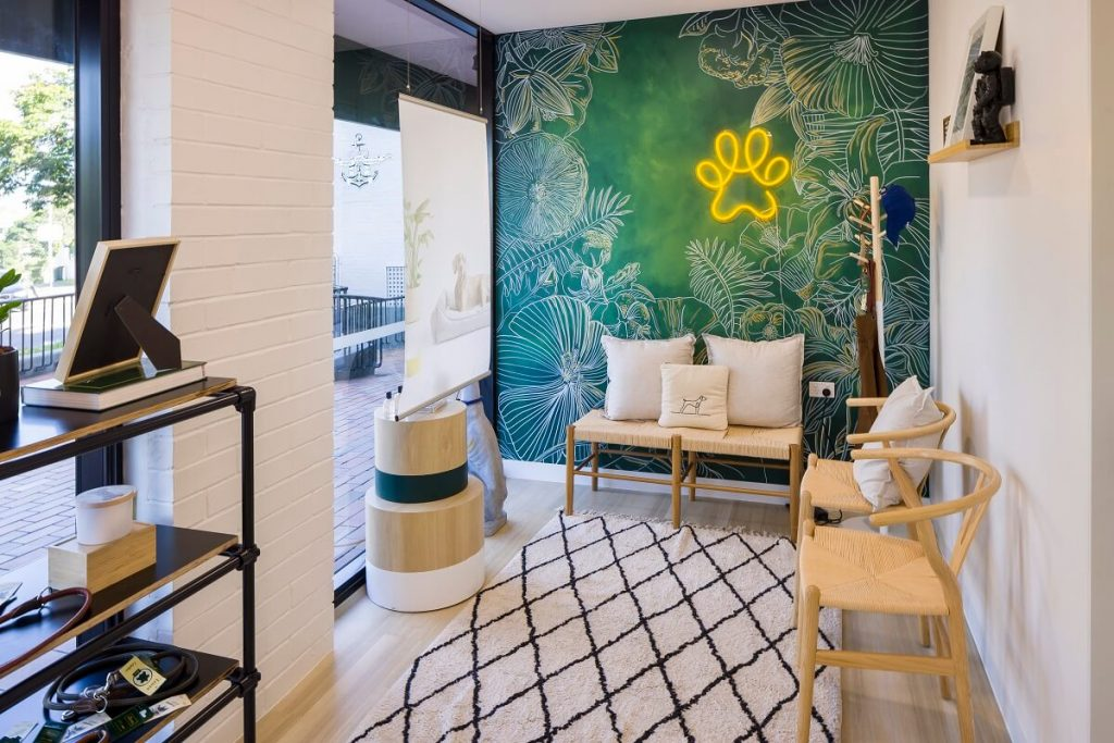 Hand-painted mural in this Brisbane vet clinic fitout